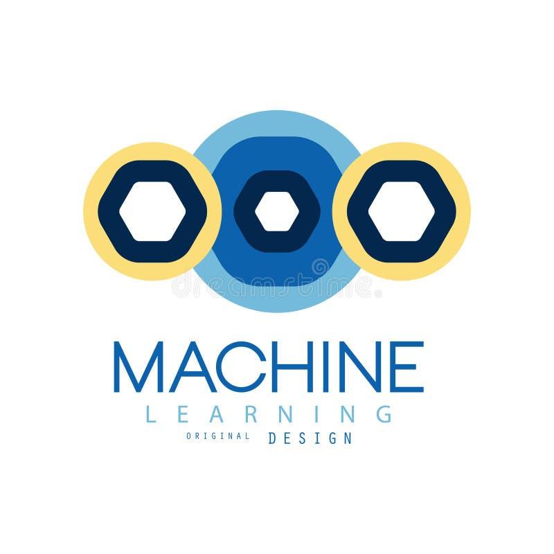 Χρωματισμένο λογότυπο της μηχανής που μαθαίνει στη γεωμετρική μορφή Υπολογισμός τεχνολογίας Ανάπτυξη τεχνητής νοημοσύνης επίπεδος ελεύθερη απεικόνιση δικαιώματος
