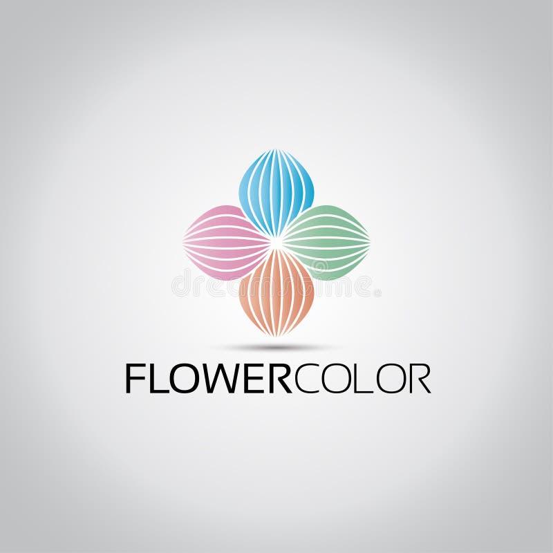 Χρωματισμένο λουλούδι λογότυπο Lotus διανυσματική απεικόνιση
