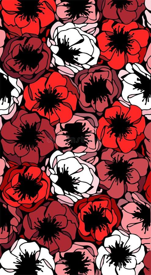 Χρωματισμένο μίγμα λουλουδιών παπαρουνών ελεύθερη απεικόνιση δικαιώματος