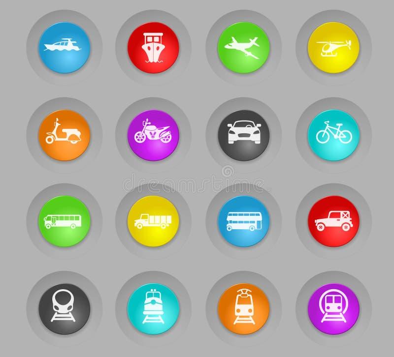 Χρωματισμένο μεταφορά πλαστικό στρογγυλό σύνολο εικονιδίων κουμπιών διανυσματική απεικόνιση