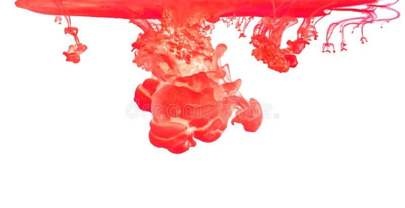Χρωματισμένο μελάνι στο νερό που δημιουργεί την αφηρημένη μορφή στοκ εικόνα με δικαίωμα ελεύθερης χρήσης