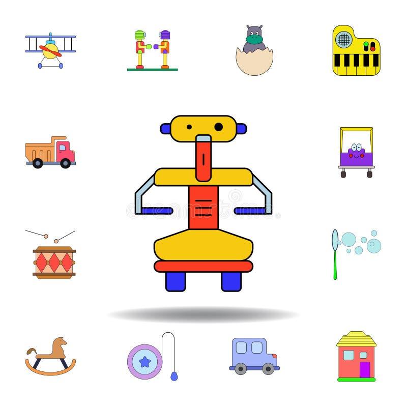 χρωματισμένο παιχνίδι εικονίδιο ρομπότ κινούμενων σχεδίων σύνολο εικονιδίων απεικόνισης παιχνιδιών παιδιών τα σημάδια, σύμβολα μπ διανυσματική απεικόνιση