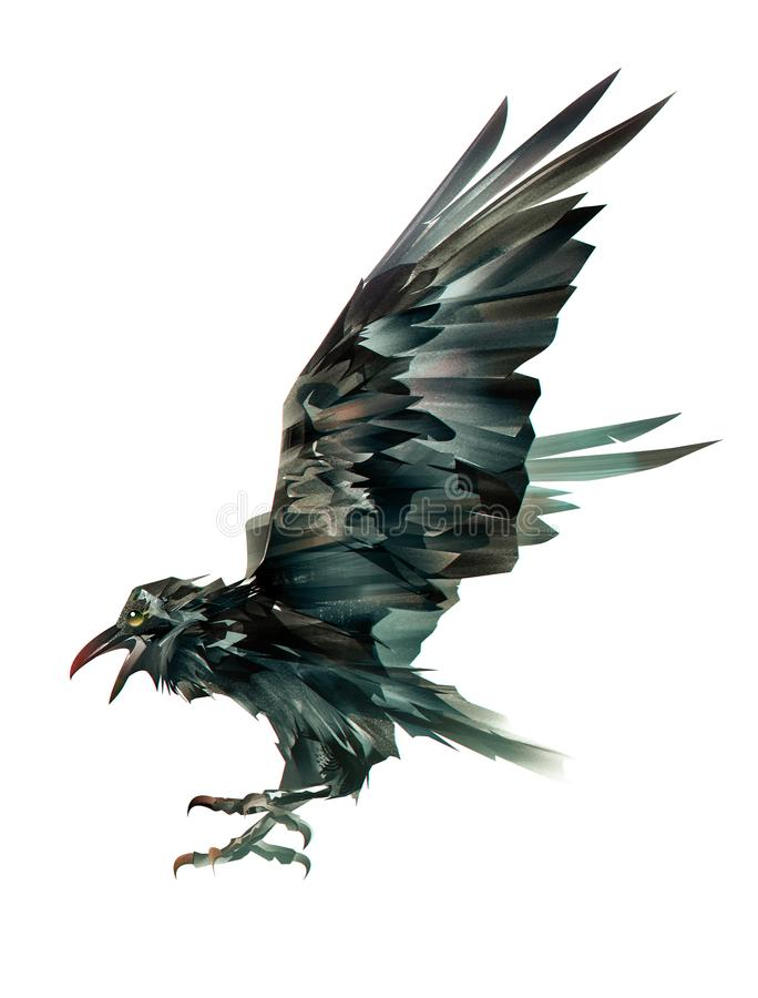 Χρωματισμένο χρωματισμένο πουλί των κοράκων στο άσπρο υπόβαθρο διανυσματική απεικόνιση