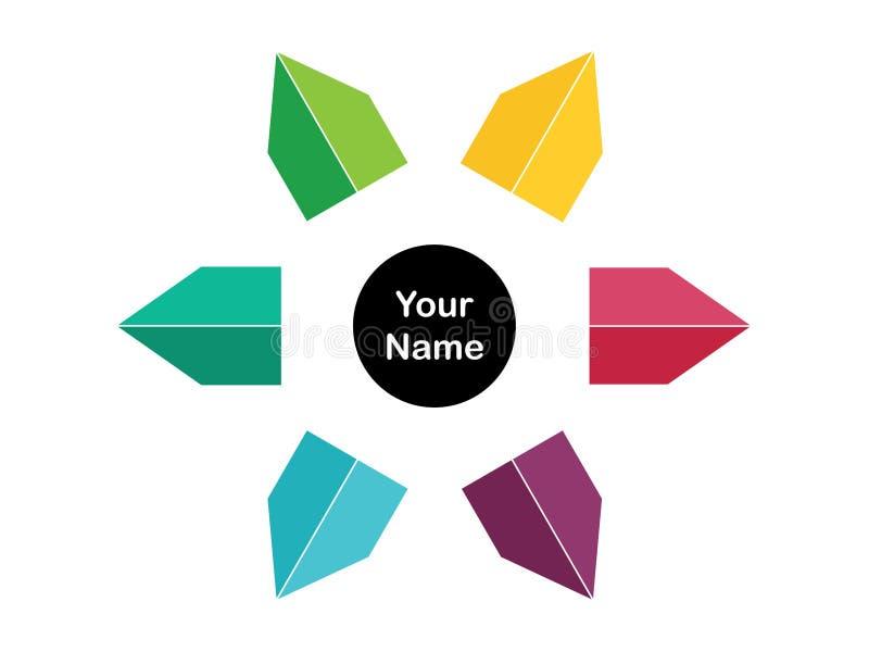 Χρωματισμένο πρότυπο λογότυπων βελών ελεύθερη απεικόνιση δικαιώματος