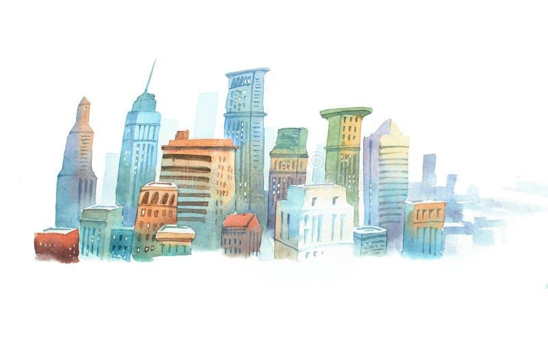 Χρωματισμένο σκίτσο ακουαρελών των υψηλών κτηρίων στη Νέα Υόρκη, οι ΗΠΑ Μεγάλη σύγχρονη πόλη εικονικής παράστασης πόλης διανυσματική απεικόνιση