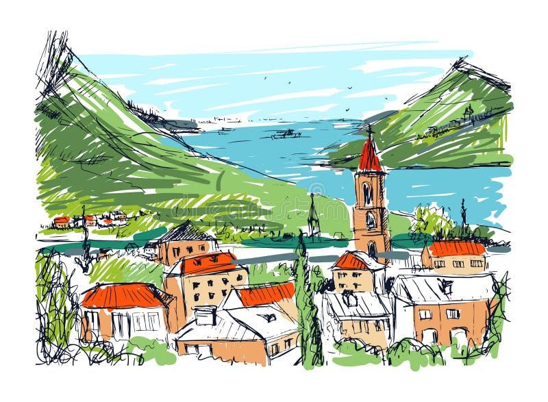 Χρωματισμένο συρμένο χέρι τοπίο με την παλαιά της Γεωργίας πόλη, τα βουνά και το λιμάνι Όμορφο ζωηρόχρωμο ελεύθερο σκίτσο με ελεύθερη απεικόνιση δικαιώματος