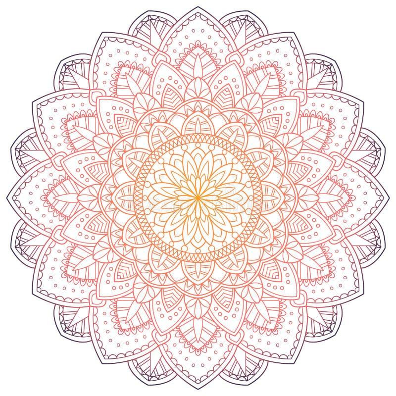 Χρωματισμένο σχέδιο υπόβαθρο Mandala επίσης corel σύρετε το διάνυσμα απεικόνισης Στοιχείο περισυλλογής για τη γιόγκα της Ινδίας Δ ελεύθερη απεικόνιση δικαιώματος
