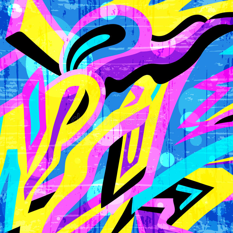 Χρωματισμένο σχέδιο γκράφιτι πολυγώνων σε ένα κίτρινο υπόβαθρο απεικόνιση αποθεμάτων