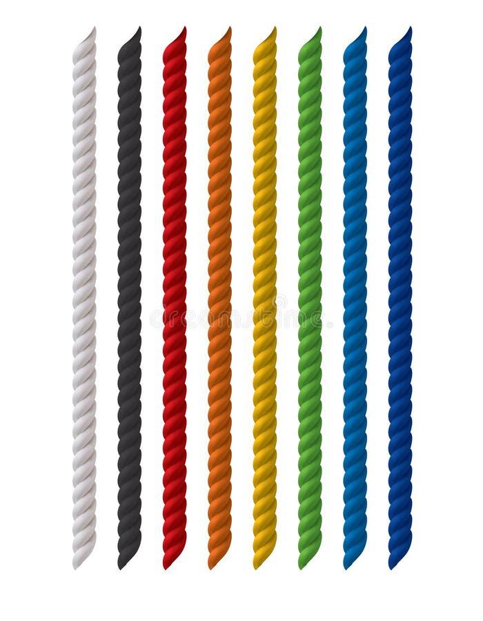 Χρωματισμένο σχοινιά σύνολο που απομονώνεται στο λευκό απεικόνιση αποθεμάτων