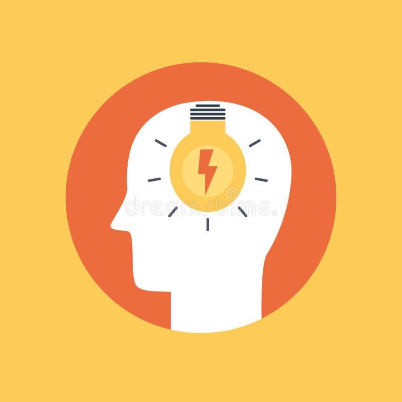 Χρωματισμένο σύμβολο του επίπεδου ύφους καταιγισμού ιδεών απεικόνιση αποθεμάτων