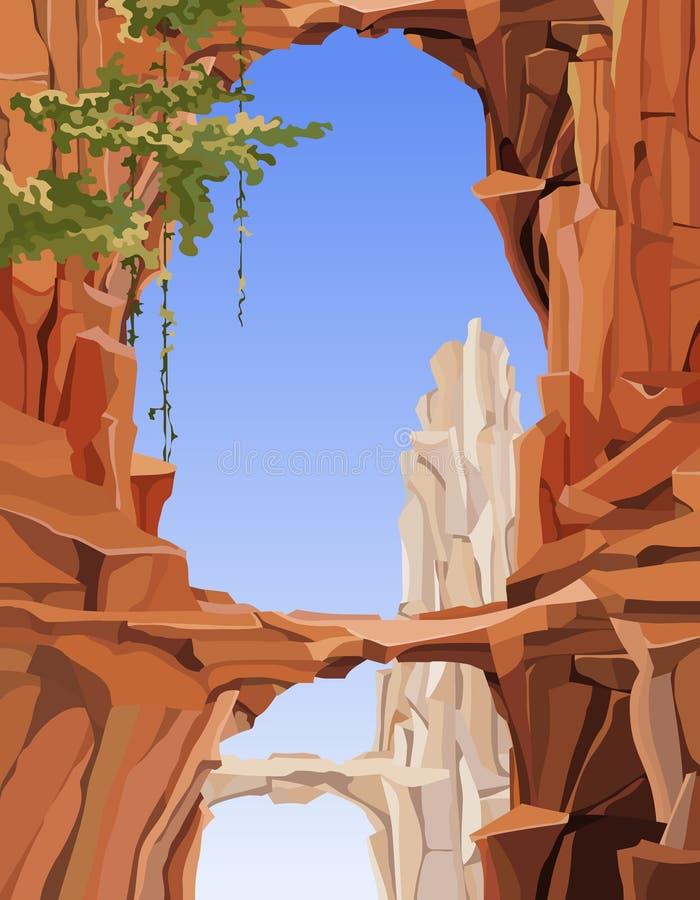 Χρωματισμένο τοπίο των δύσκολων βουνών με τις αψίδες και τις γέφυρες διανυσματική απεικόνιση