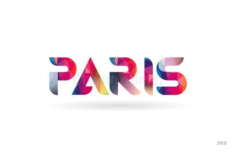 χρωματισμένο το Παρίσι κείμενο λέξης ουράνιων τόξων κατάλληλο για το σχέδιο λογότυπων διανυσματική απεικόνιση