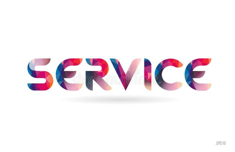 χρωματισμένο υπηρεσία κείμενο λέξης ουράνιων τόξων κατάλληλο για το σχέδιο λογότυπων απεικόνιση αποθεμάτων