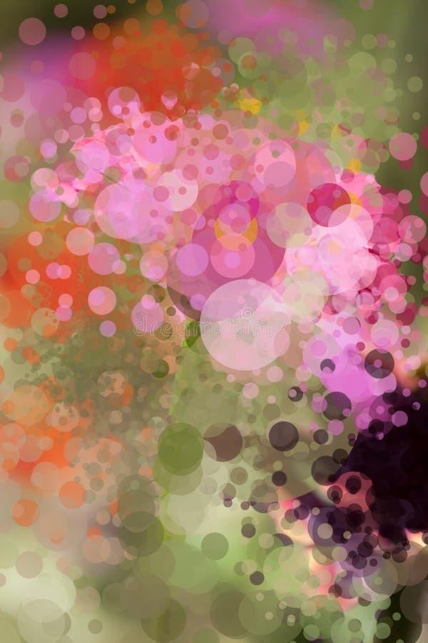 Χρωματισμένο υπόβαθρο με πολλές φυσαλίδες Θέμα λουλουδιών διανυσματική απεικόνιση