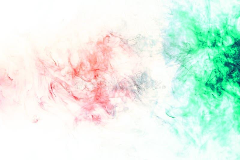 Χρωματισμένο υπόβαθρο με το τύλιγμα των σύννεφων καπνού από τα σχέδια των διαφορετικών μορφών κόκκινων, πράσινων χρωμάτων με τις  στοκ εικόνα