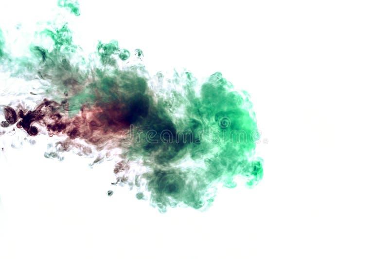 Χρωματισμένο υπόβαθρο με το τύλιγμα των σύννεφων καπνού από τα σχέδια των διαφορετικών μορφών κόκκινων, πράσινων χρωμάτων με τις  στοκ εικόνες με δικαίωμα ελεύθερης χρήσης