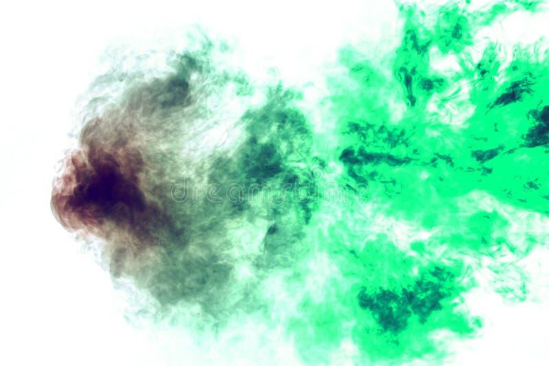 Χρωματισμένο υπόβαθρο με το τύλιγμα των σύννεφων καπνού από τα σχέδια των διαφορετικών μορφών κόκκινων, πράσινων χρωμάτων με τις  στοκ φωτογραφίες