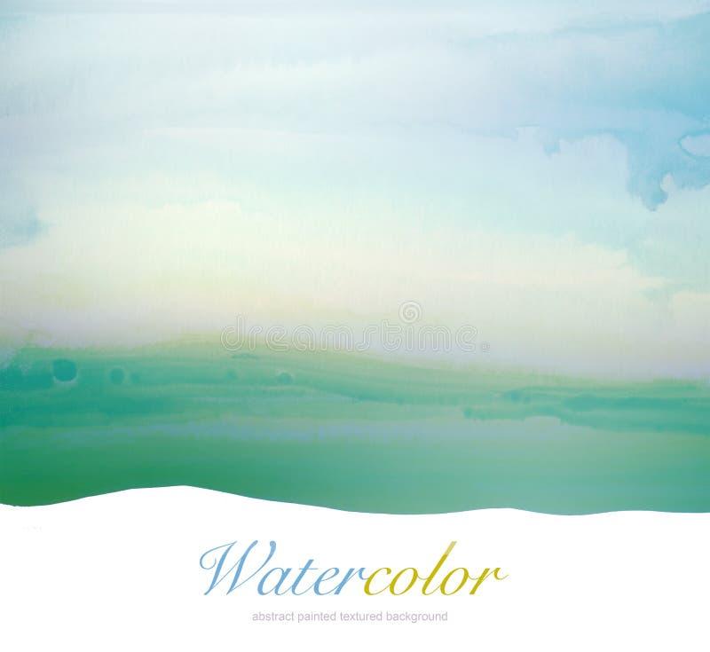 Χρωματισμένο υπόβαθρο τοπίων Watercolor χέρι στοκ φωτογραφία με δικαίωμα ελεύθερης χρήσης