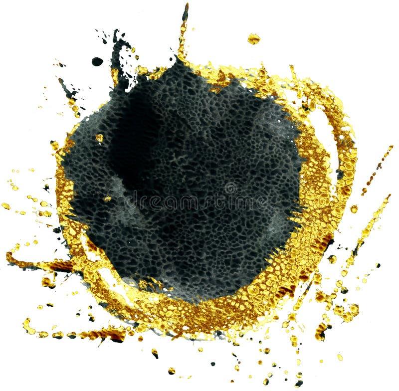 Χρωματισμένο υπόβαθρο Watercolor Μαύρος και χρυσός κύκλος ελεύθερη απεικόνιση δικαιώματος