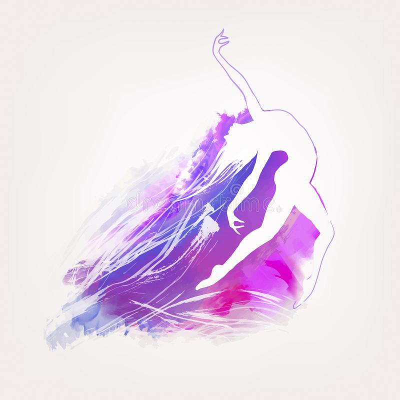 Χρωματισμένο υπόβαθρο watercolor με το silhuette αριθμού χορού ελεύθερη απεικόνιση δικαιώματος