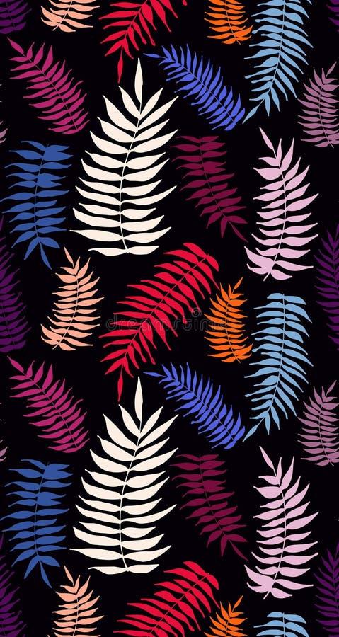 Χρωματισμένο φωτεινό άνευ ραφής σχέδιο φύλλων φοινικών απεικόνιση αποθεμάτων