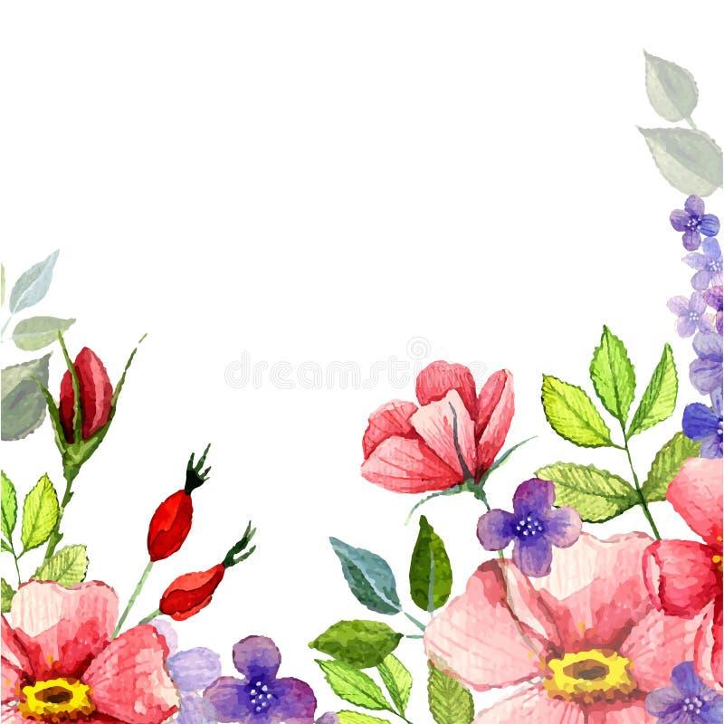 Χρωματισμένο χέρι διανυσματικό floral υπόβαθρο watercolor διανυσματική απεικόνιση