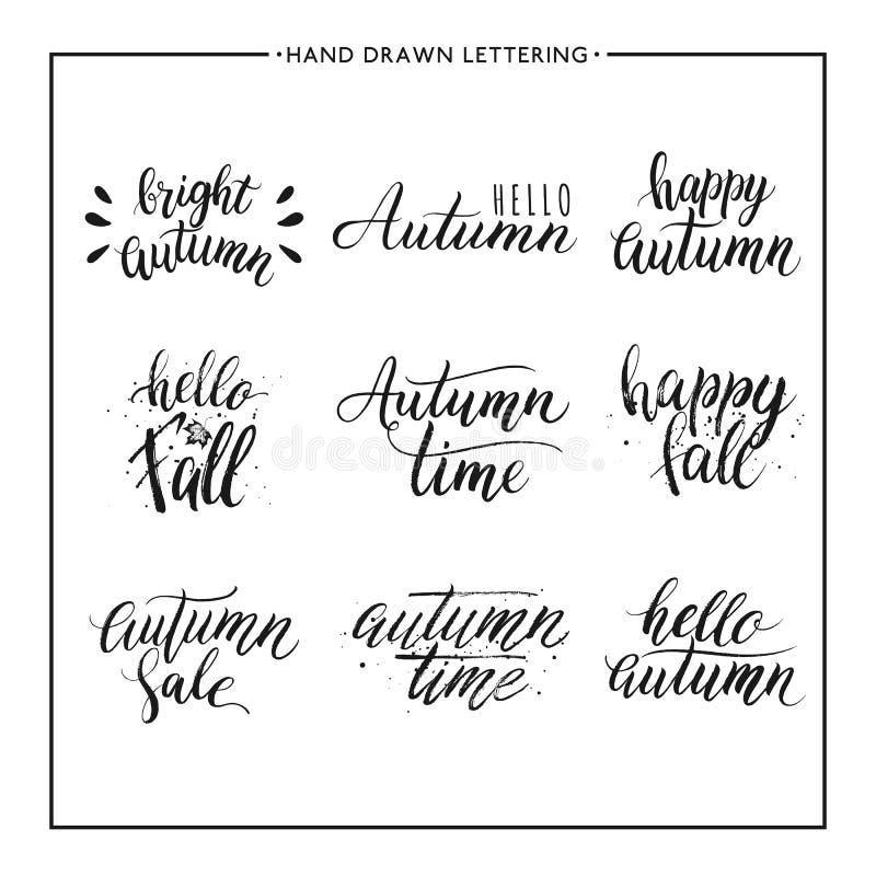 Χρωματισμένο χέρι κείμενο - το ευτυχές φθινόπωρο, γειά σου πέφτει, πώληση διανυσματική απεικόνιση