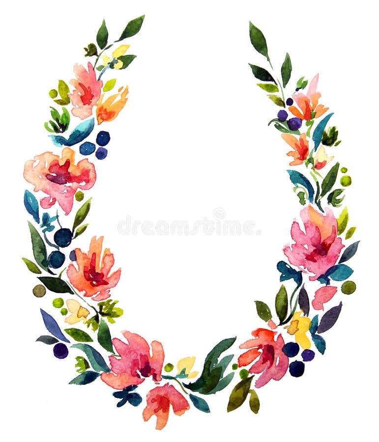 Χρωματισμένο χέρι στεφάνι watercolor Διακόσμηση λουλουδιών απεικόνιση αποθεμάτων