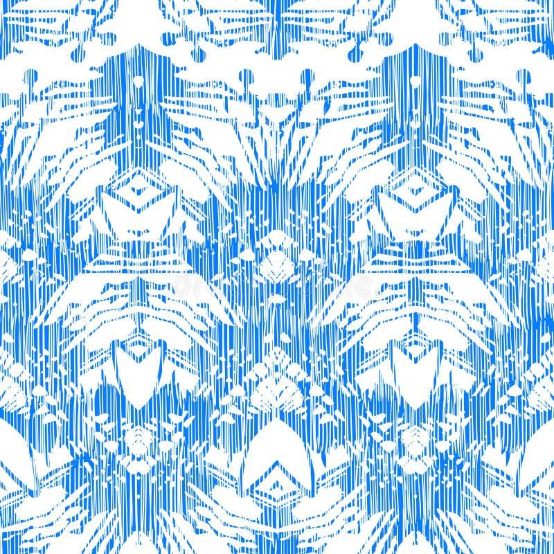 Χρωματισμένο χέρι σχέδιο με damask και ikat τα μοτίβα διανυσματική απεικόνιση