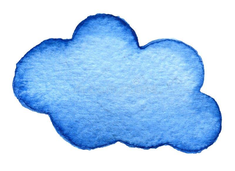 Χρωματισμένο χέρι σύννεφο watercolor που απομονώνεται στο λευκό Μπλε backround διανυσματική απεικόνιση