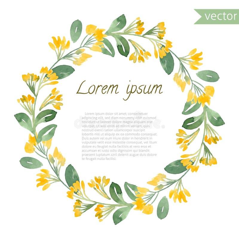 Χρωματισμένο χέρι floral στρογγυλό πλαίσιο watercolor ελεύθερη απεικόνιση δικαιώματος