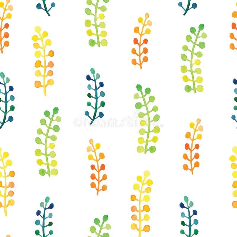 Χρωματισμένο χέρι watercolor διανυσματικό υπόβαθρο σχεδίων φύλλων άνευ ραφής floral Φύλλο και βοτανικό σχέδιο λουλουδιών διανυσματική απεικόνιση