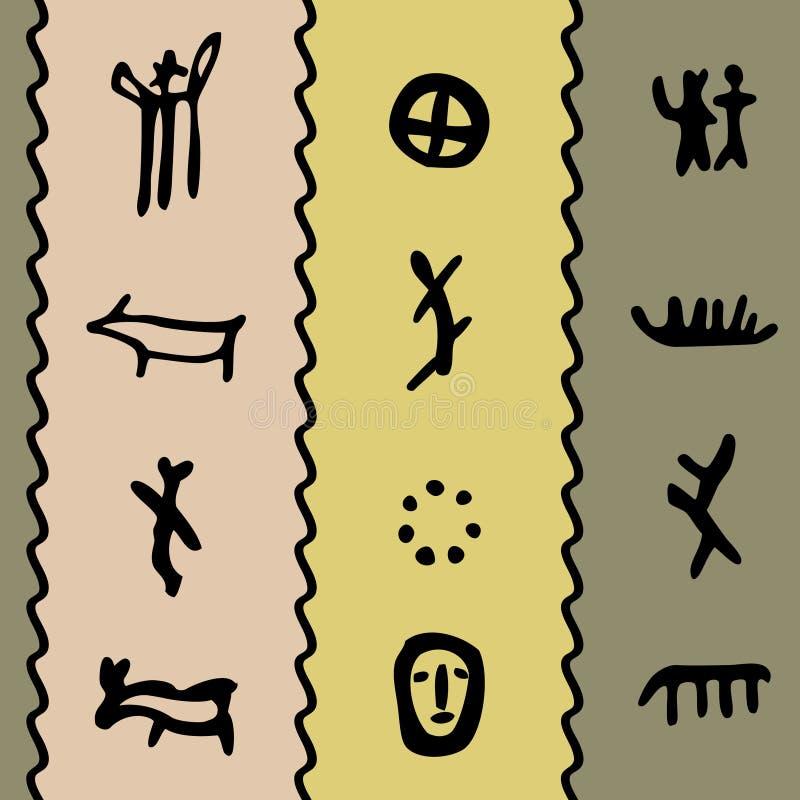 χρωματισμένο petroglyph προτύπων απεικόνιση αποθεμάτων