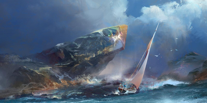 Χρωματισμένο seascape, η θύελλα και ένα γιοτ ελεύθερη απεικόνιση δικαιώματος