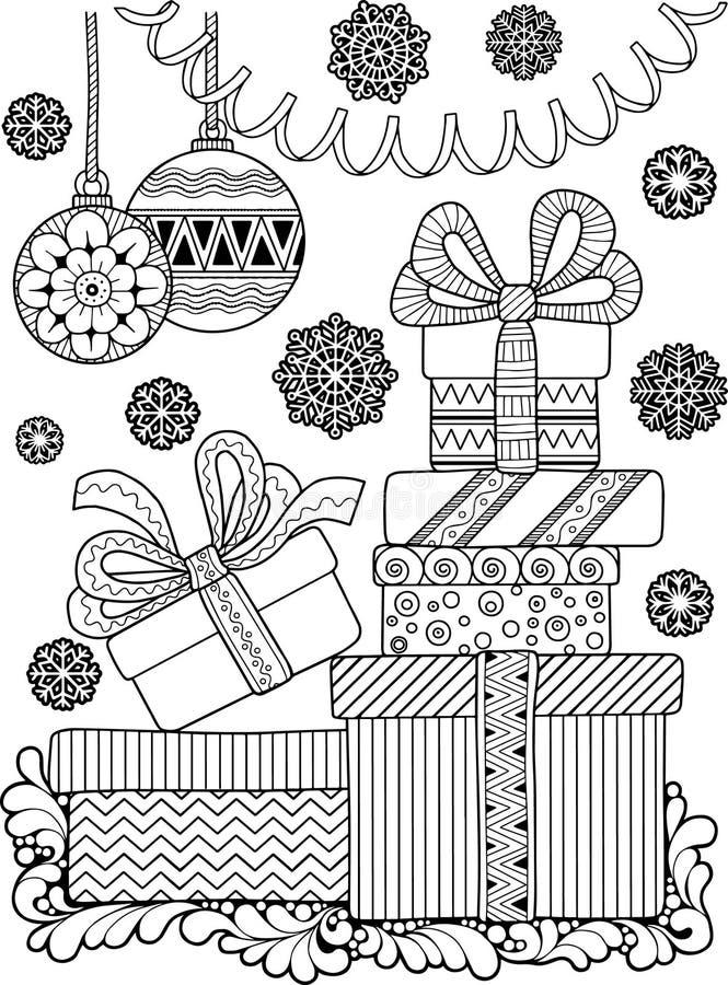 Χρωματισμός αντιαγχωτικός για τους ενηλίκους Γραπτά διακοσμητικά κιβώτια περιγράμματος με τα δώρα και snowflakes απεικόνιση αποθεμάτων