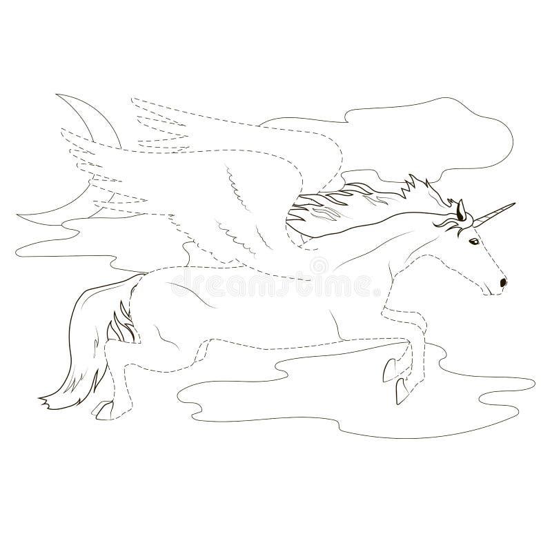 Χρωματισμός από τη διαστιγμένη γραμμή Pegasus διανυσματική απεικόνιση