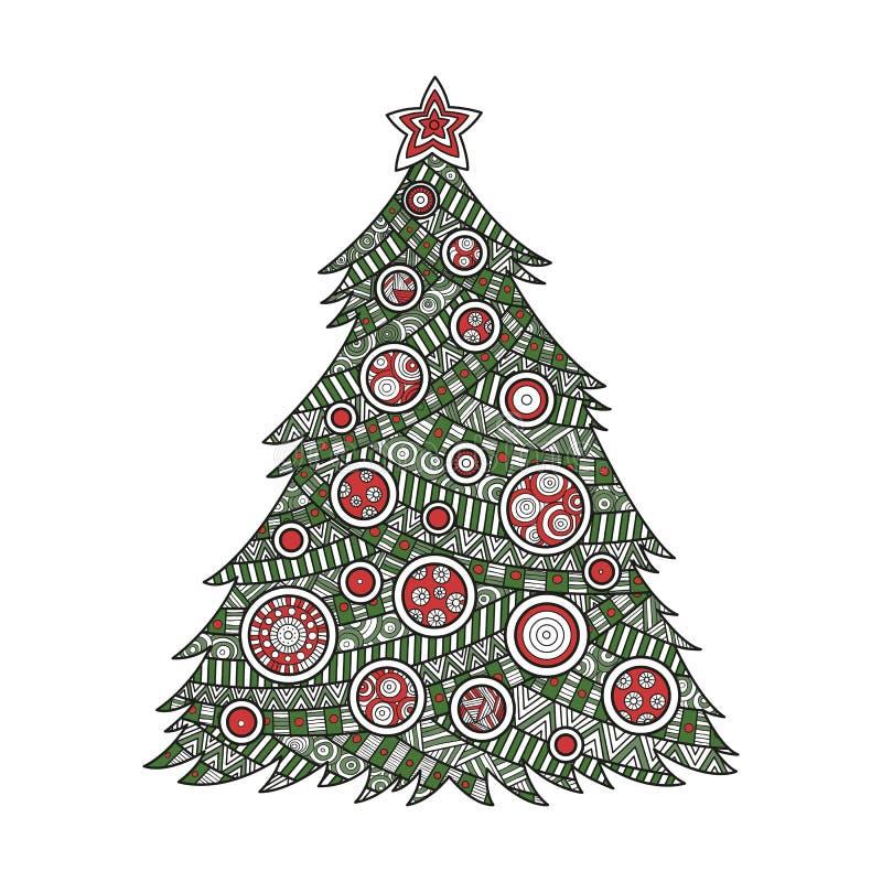 Χρωματισμός για το χριστουγεννιάτικο δέντρο ενηλίκων στοκ εικόνες