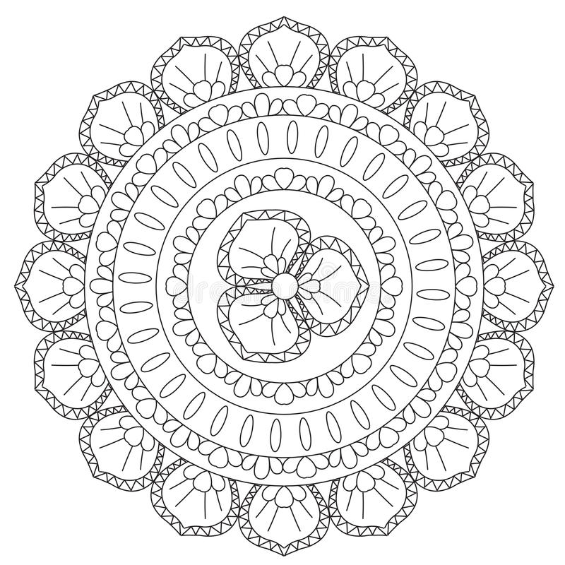 Χρωματισμός μαύρο εθνικό Mandala απεικόνιση αποθεμάτων
