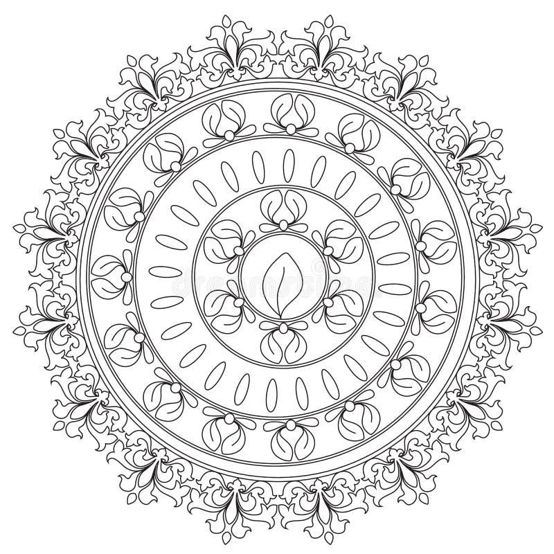 Χρωματισμός μαύρο διακοσμητικό Mandala διανυσματική απεικόνιση