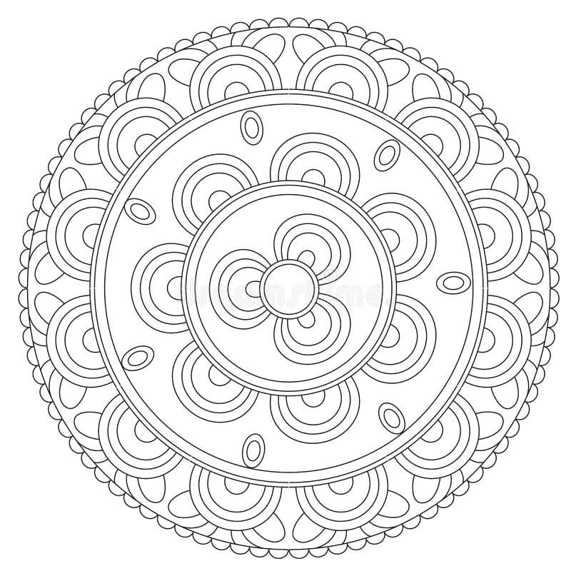 Χρωματισμός μαύρο Floral Mandala διανυσματική απεικόνιση