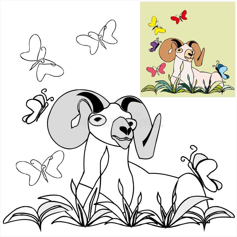 Χρωματισμός με τα πρότυπα - κριός με τα butterflyes στοκ εικόνες