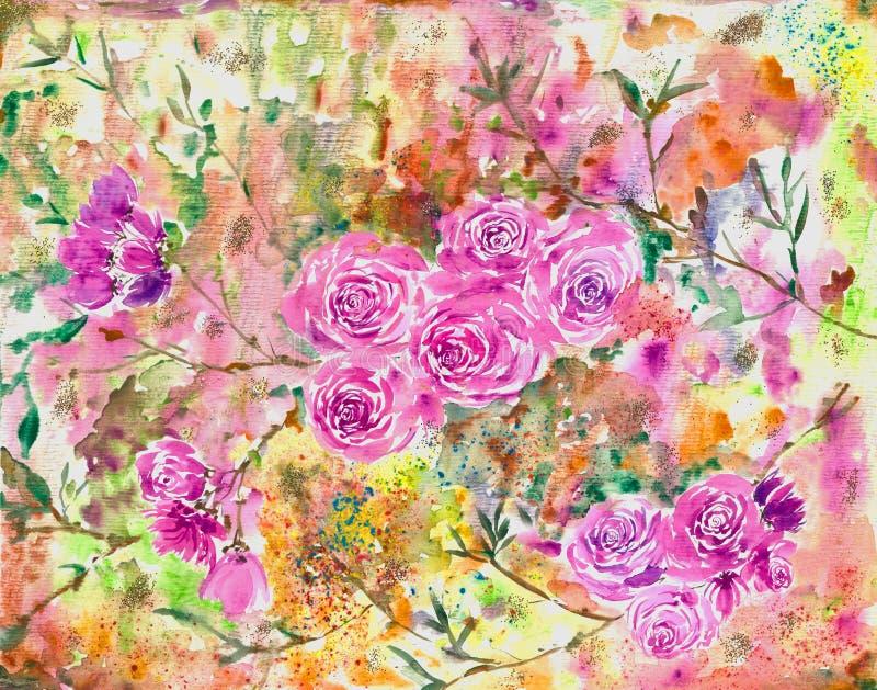 Χρωματισμός με το χέρι των λουλουδιών με υδατογραφία Ψηφιακή εκτύπωση του αρχικού χρωματισμού Εκφραστικός τρόπος χρωματισμού Μοντ στοκ φωτογραφία με δικαίωμα ελεύθερης χρήσης