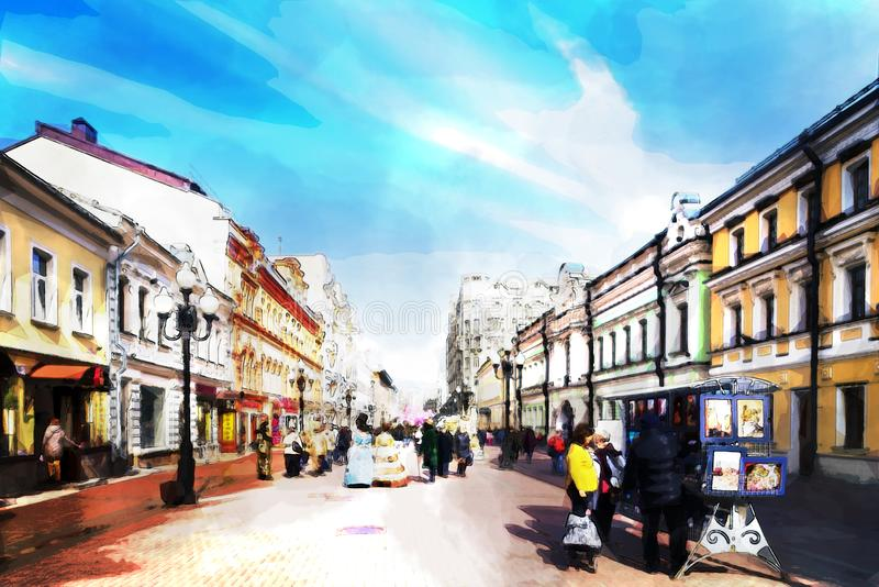 χρωματισμός νερού Οδός Νιου Αρμπάτ της πόλης της Μόσχας &x27;s περιπατημένη οδός που είναι ο τουριστικός προορισμός του κύριου το στοκ εικόνες