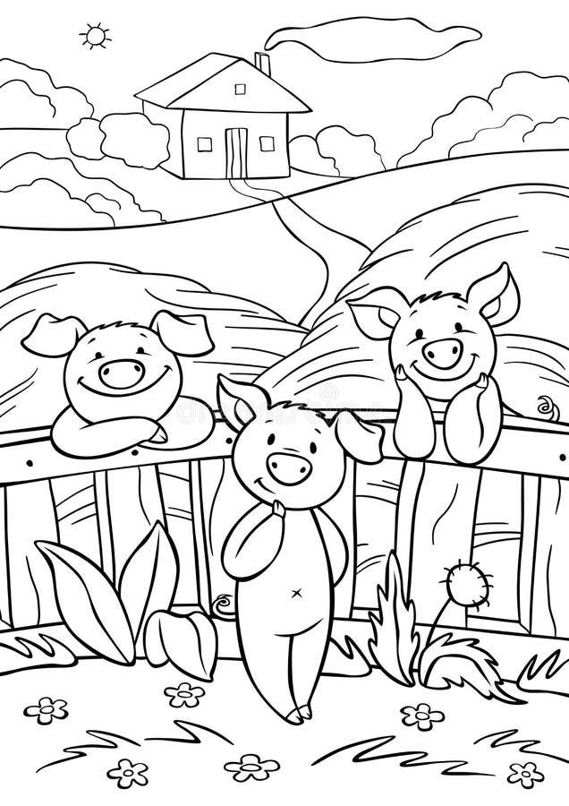 Χρωματισμός σελίδων Τρία μικρά χαριτωμένα γουρούνια είναι κοντά στον φράχτη στο σανό διανυσματική απεικόνιση