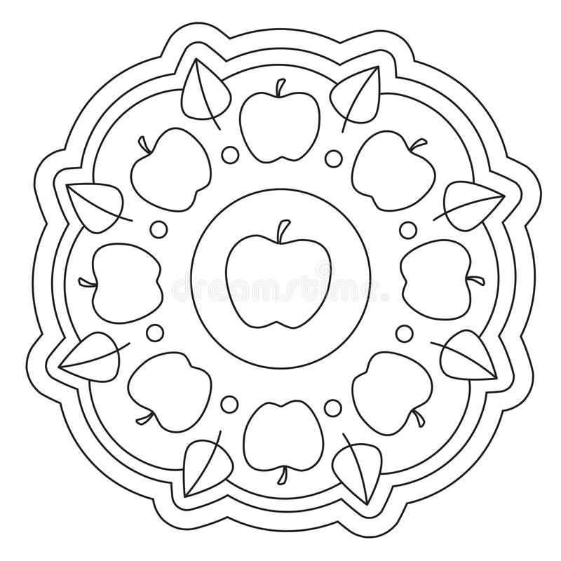 Χρωματισμός της απλής Apple Mandala διανυσματική απεικόνιση