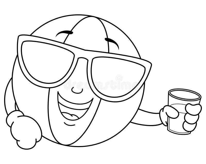 Χρωματισμός της δροσερής σφαίρας παραλιών με τα γυαλιά ηλίου ελεύθερη απεικόνιση δικαιώματος