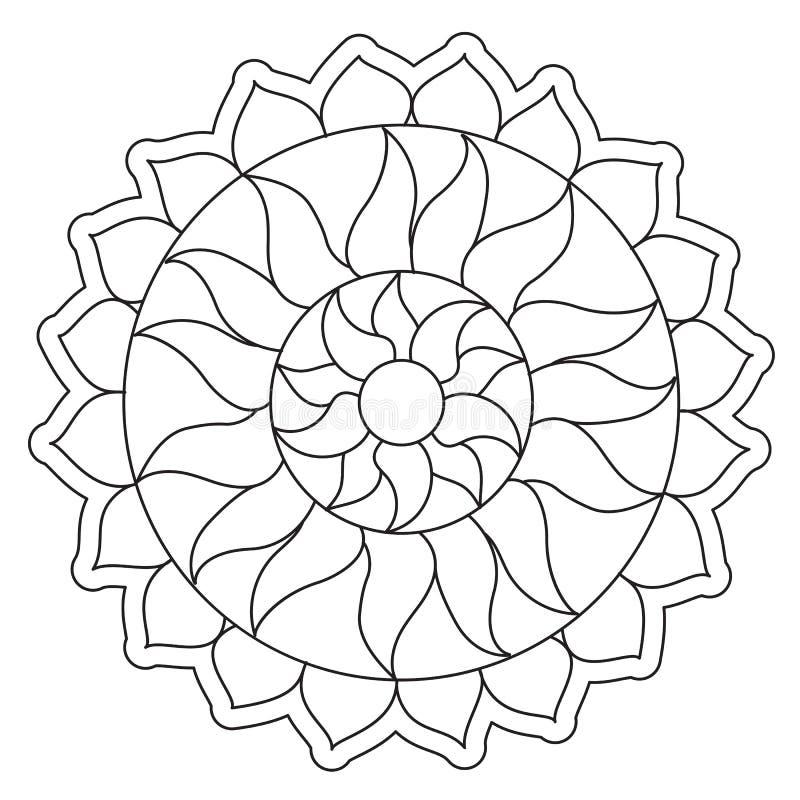 Χρωματισμός του απλού ήλιου Mandala διανυσματική απεικόνιση
