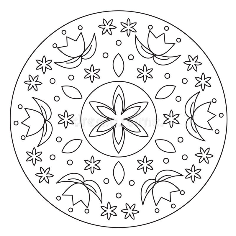 Χρωματισμός του απλού λουλουδιού Mandala διανυσματική απεικόνιση