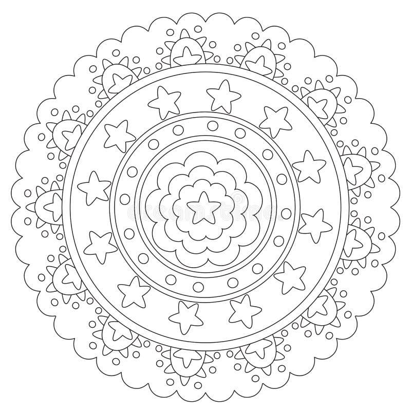 Χρωματισμός του γεωμετρικού αστεριού Mandala ελεύθερη απεικόνιση δικαιώματος