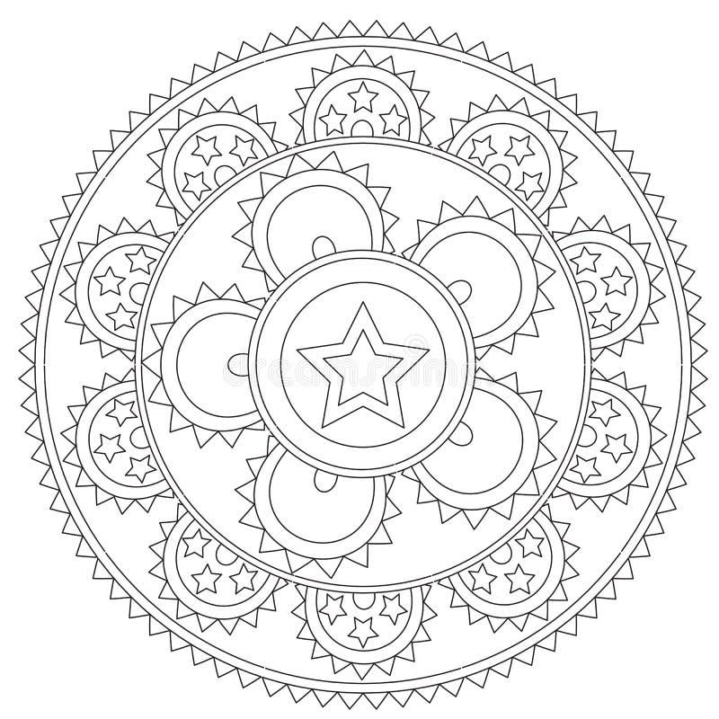 Χρωματισμός του μαύρου αστεριού Mandala διανυσματική απεικόνιση